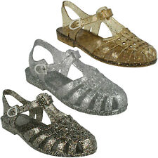 F0R713 LADIES SPOT ON FLAT GLITTER RETRO BEACH JELLY SHOES BUCKLE STRAP SANDALS