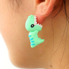 1pair cute dinosaur earrings,3D dinosaur ear ring,biting ear look ear stud