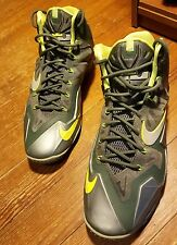 Nike Lebron 11 Dunkman XI Gamma  Slate Fly Wire EUC Ds Sz 14 Green & Yellow