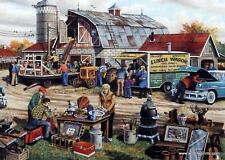 """Ken Zylla """" Country Auction"""" Nostalgic farm Auction SN Print  30"""" x 18"""""""