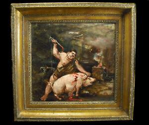 Butcher Boucher Pig Killing Bleeding Delicatessen Painting Curiosity c1800 Hst