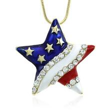 Independence Day 4th of July American Usa Us Flag Star Necklace Pendant Charm s1