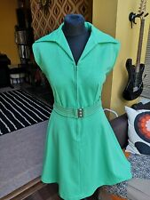 Fab Vintage 70s Green belted Dagger Collar Zip Up Dress 14 16