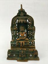 Old Vintage Rare Bronze Engraved India Jain Lord Parashwnath Figure Statue D3