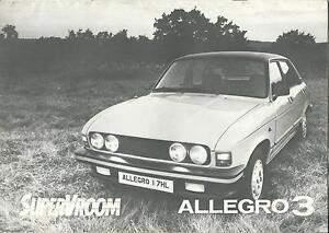 Austin Allegro 3 UK Market Brochure 1979 Includes 1.3l 1.5l & 1.7l Models