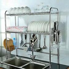 Dish Drying Over The Sink Rack Adjustable Height Steel Utensils 2 Shelves S