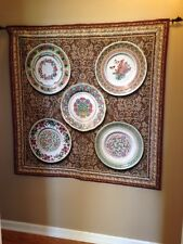Floral Culinary China Plates flowers Jacquard Woven Tapestry Wall Hanging NEW