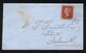 GB QV 1853 1d Red imperf 4m on Cover from Truro to Falmouth cds