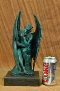 Mythical Devil Lucifer Bronze Sculpture Hand Crafted Original Figurine Statue NR