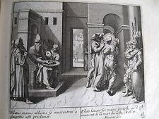 C21-4a Gravure religieuse 17e  Pilate lavant ses mains proteste (Math 27)