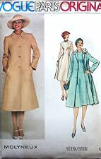 VINTAGE VOGUE PARIS ORIGINAL MISS LONG TRENCH COAT & DRESS SEWING PATTERN SZ 14