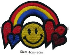 heart rainbow smiley face colour iron sew on patch  embroidered #126