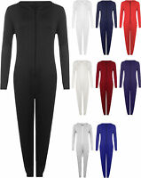 New Womens Hooded Zip One Piece Jumpsuit Ladies Trouser Playsuit All In One 8-14