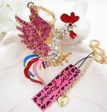 Betsey Johnson Necklace Gsme Cock Rooster  Pink Crystals Bling