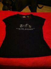 WOMENS HARLEY-DAVIDSON SHEER BLACK CAP SLEEVE W/ GLITTER MOTORCYCLE XS