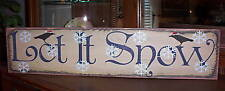 LET IT SNOW  (with 2 crows)   Christmas  wood sign primitive