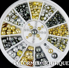 3 Color Rivets Nail Art Decoration Glod Silver Flat Back Half Round Studs #S12