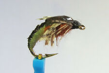 1 x Mouche peche NYMPHE SEDGE MARRON H10/12/14/16 fly fishing fliegen mosca