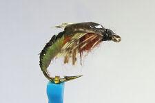 1 x Mouche peche NYMPHE SEDGE MARRON H10/12/14/16 fly fishing fliegen mosca