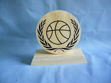 large round Basketball Award trophy wood party favor
