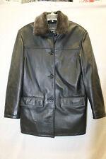 A & S Selections AS Black Leather Coat Jacket Modo Peau Leathers Size Small EUC