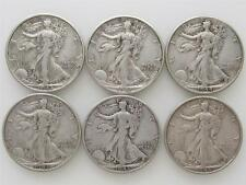1943-44-45 Lot of 6 Walking Liberty US Half Dollar Silver Coins, 4 D's. 2 S's.