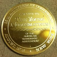 Rare 1976 STERLING SILVER NUMISMATIC ASSOCIATION Round  Art COIN 20.3 GRAMS