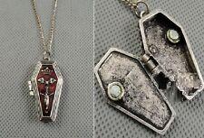N325 BETSEY JOHNSON Vampire Hallowee Open Box Coffin Casket Necklace US