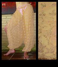 Harem Pants Belly Dance Gold w/ Gold Brocade Slit 3