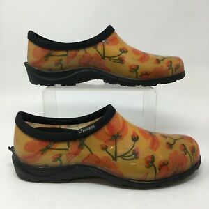 Sloggers Slip On Rain Garden Shoes Womens 10 Yellow Floral Rubber Casual Flats