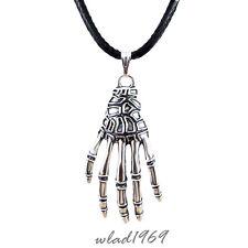 ☠ Halskette mit Anhänger Skelett Hand Knochenhand Gothic Necklace Pendant silber