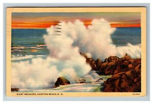 Giant Breakers, Hampton Beach NH c1941 Linen Postcard M11