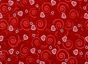 FAT QUARTER VALENTINE'S DAY COTTON FABRIC  HEARTS & SCROLLS RED WITH GLITTER  FQ