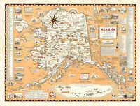 Early Pictorial Map of Alaska, the 49th State Wall Art Poster Vintage History