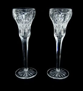 """Pair of Waterford Marquis CANTERBURY 8.5"""" Crystal Single Light Candle Holders"""