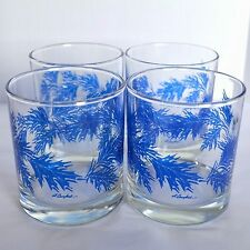 4 D. Campbell Blue Leaf Clear Glass Lowball Water Juice Drinking Tumbler Glasses