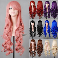 Fashion Womens 80cm Long Wavy Natural Curly Wigs Anime Fancy Cosplay Full Hair