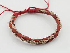 Bracelet bresilien cuir bijoux ethnique-rouge-mixte Homme Femme BB533