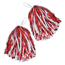 AMERICAN CHEERLEADER RED AND WHITE HEN PARTY POM POMS - fancy dress accessory