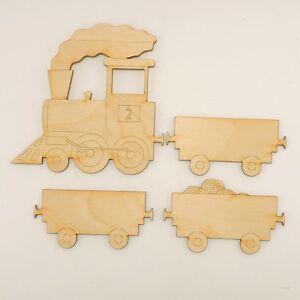 Zug mit 3 Wagon, Dampflok, Eisenbahn, Kinderzimmer, Basteln, Holz
