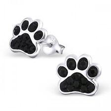 Sterling Silver 925 Dog / Cat Paw Crystal Stud Earrings - Black