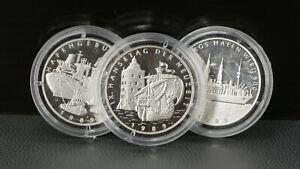 Platin Münzen 999 3 Stück Pt 999 Hamburger Hafen wird 800 3 x ca. 11g gekapselt
