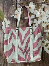 COACH White leather Pink Zebra Signature Tote Shoulder Bag  # 2555