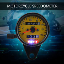 Motorcycle LED Backlight Dual Odometer Speedometer Gauge W/ Indicator Cafe Racer