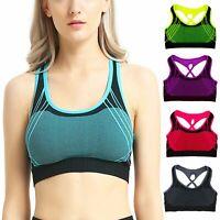 3 6 Pack Womens Yoga Sports Bra Seamless Racerback Blue Pink Green Black Purple