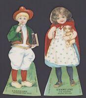 2 Pappaufsteller Werbung - Victorian Trade / Advertising Card - ENAMELINE Kinder