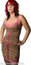 77291 Pink & Leopard Molotov Slip Dress Lace Sourpuss Sexy Pinup 50s Punk LARGE
