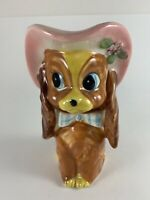 Vintage Dog Planter Cocker Spaniel Pink Hat Bow