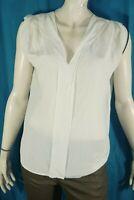 SANDRO Taille 38 Superbe blouse en soie blanc cassé liseret noir haut top chemis