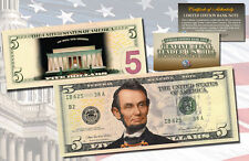 Lincoln Memorial Night Version Genuine Legal Tender Colorized 2-Sided $5 Us Bill